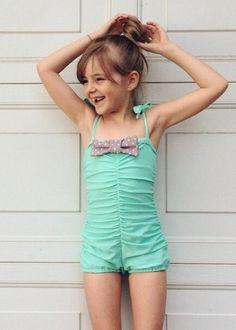 madeline in mint #reyswimwear #reyswimwearlittles ##toddlerswimsuit #modestswimsuit