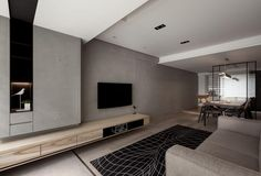 Color scheme : grey walls x ivory grey floor. Living Room Tv, Living Room Interior, Home And Living, Living Spaces, Interior Livingroom, Modern Interior, Interior Architecture, Interior Design, Modern Furniture