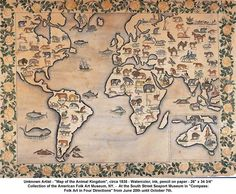 """Unknown Artist - """"Map of the Animal Kingdom"""", circa 1835 - Watercolor, ink, pencil on paper - 26"""" x 34 3/4"""" Collection of the American Folk Art Museum, NY."""
