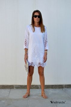White Crop Sleeve Crochet Embroidered Shift Dress - Sheinside.com