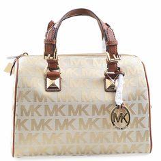 Designer Handbags Rescue -Authentic Michael Kors Bags. This Grayson  Jacquard Medium Satchel in Beige a396b7410147c