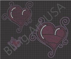 Heart Rhinestone Download File Template Pattern Bling Cute Heart Love SVG PLT EPS PDF Heart With Swirls Stencil Romance System Easy Hearts Sticky Flock Lust