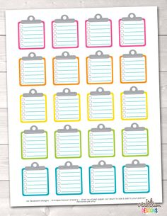 Clipboard To Do Checklists Printable Planner Stickers – Instant Download PDF for your Erin Condren Life Planner