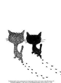 Mini posters   Pim en Pom lopen weg   Fiep Westendorp   PC106   Pim en Pom, Tekeningen, Kinderboek Illustratoren, Kinderboekenillustraties, Katten, Illustraties,