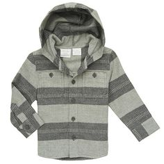 Koala Baby Boys' Long Sleeve Hooded Shirt - Gray
