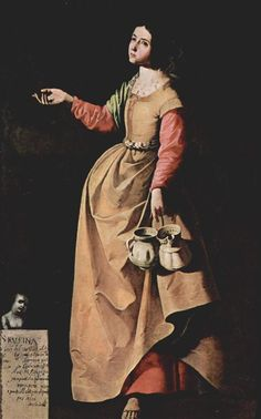Rufina of Seville - Francisco de Zurbaran 1640 Spanish Painters, Spanish Artists, Religious Paintings, Religious Art, Caravaggio, Prado, Francisco Zurbaran, Art Espagnole, Diego Velazquez