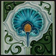 majolica tile | Antique Richards Art Nouveau Majolica Ceramic Tile | Tile Style
