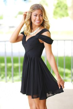 Not sure where I could wear this but omg SO cute! --- Black Off Shoulder Short Dress