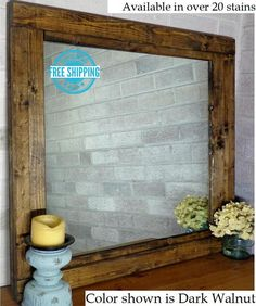 Renewed Décor Farmhouse Reclaimed Wood Mirror in 20 stain colors - Large Wall Mirror - Rustic Modern Home - Home Decor - Mirror - Housewares - Woodwork - Frame - Stained Mirror Farmhouse Mirrors, Farmhouse Frames, Rustic Farmhouse, Large Framed Mirrors, Wood Framed Mirror, Wall Mirror, Mirror Vanity, Mirror Bathroom, Downstairs Bathroom