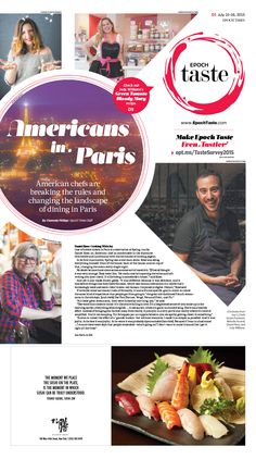 Americans in Paris Epoch Taste #Food #newspaper #editorialdesign