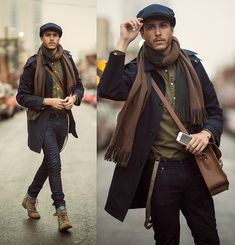 Choose a navy trenchcoat and black skinny jeans to create a dressy but not too dressy look. dapperness and complete your look with olive suede boots. Jean Skinny Noir, Brown Suspenders, Suspenders Outfit, Skinny Jeans With Boots, Outfit Jeans, Moda Men, Look Fashion, Clothing Styles