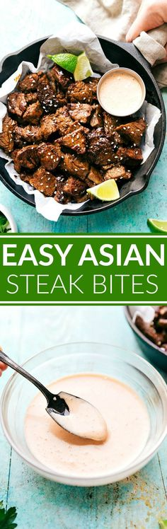 ASIAN STEAK BITES! Easy to make Asian steak bites -- ready in 30 minutes or less! Plus an insanely good dipping sauce that requires only four ingredients! I chelseasmessyapron.com