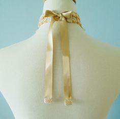 Lace Jewelry (Neoclassiciam) Choker Fiber Art Necklace. $138.00, via Etsy.