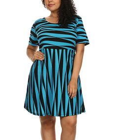 BellaBerry USA Black & Blue Abstract Fit & Flare Dress - Plus | zulily