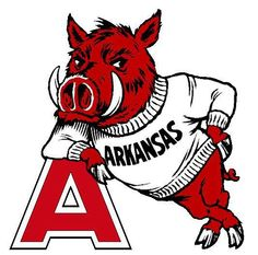Arkansas football logo uses their mascot to make the logo identifiable, but, also to direct the viewers eye toward the big A, by directing all lines that make up the mascot toward the A. Colour adds contrast to the image as red is the only colour, thus making everything in red important.