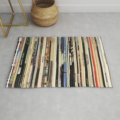 Classic Rock Vinyl Records Modern Throw Rug by Nmtdot - x Modern Rugs, Black Rooms, Good Bones, Interior S, Classic Rock, Rugs In Living Room, Throw Rugs, Home Decor Inspiration