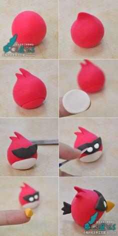 Turorial : How to make Angry Bird in polymer clay / Tutoriel : Réaliser les personnages de Angry Bird en pâte polymère Différentes façons de faire les personnages du célébre jeu Angry Bird. Vous trouverez certainement votre bonheur :) - Red Bird / L'oiseau...