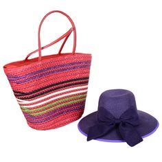 ithal kımızı hasır plaj çantası ,mor hasır fiyonklu şapka