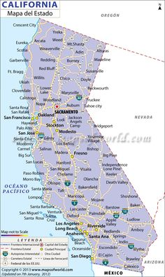 Map Of Major Cities Of California Maps In 2019 California Map