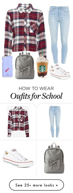 School Outfit by jenlisaac on Polyvore featuring Rails, Paige Denim, Kate Spade, Candies, Converse, womens clothing, women, female, woman and misses