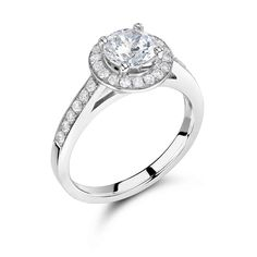 Round Halo Brilliant with Pave Set Shoulders - http://www.voltairediamonds.ie/product/antique-style/round-halo-brilliant-with-pave-set-shoulders/