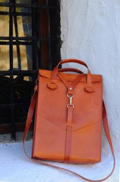 3848294130b5 Leather laptop bag. Handbag and removable shoulder strap
