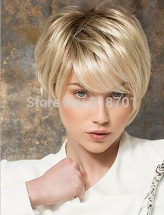 Blonde short straight full Wig free shipping Synthetic Wigs HOT!