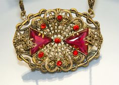 Victorian Stunning Necklace Filigree Red Glass by EarlyBirdJewels,  45.00