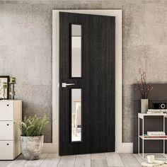 Bespoke Door - Flush American Dark Grey Ash Veneer - Clear Glass - 07.    #darkgrey #door