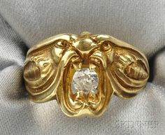 Art Nouveau 18kt Gold and Diamond Ring
