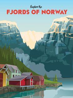 travel poster Erkunden Sie die Fjorde Norwegens Un - Vintage Travel Posters, Vintage Ads, Tattoo Italy, Travel Ads, Travel Packing, Travel Luggage, Reisen In Europa, Norway Travel, Travel Illustration