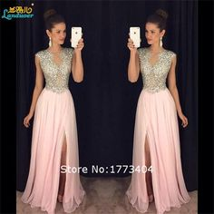 Quality 2017 Sparkling Beaded Side Slit Pink Evening Dresses vestidos de festa Formal Party Gowns Custom Made Made Plus Size Handwork with free worldwide shipping on AliExpress Mobile Sexy Formal Dresses, Split Prom Dresses, Pink Prom Dresses, A Line Prom Dresses, Dresses For Teens, Bridesmaid Dresses, Chiffon Dresses, Prom Gowns, Dresses Dresses