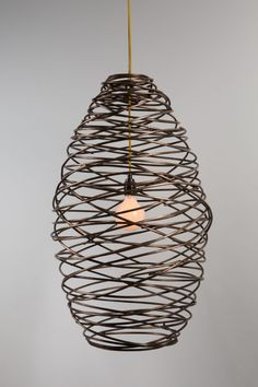 Portfolio of contemporary forged metalwork by James Price Blacksmith Industrial Style Lighting, Modern Industrial, Vintage Industrial, Suspension Diy Luminaire, Wood And Metal, Metal Art, Warehouse Living, Cage Light, Interior Design Inspiration