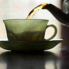 Jadeite Alice cup and saucer Cuppa Tea, Tea Art, My Cup Of Tea, High Tea, Chai, Drinking Tea, Shades Of Green, Afternoon Tea, Cup And Saucer