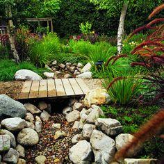 dry creek bed a. a 'virtual' creek bed Rain Garden, Water Garden, Garden Paths, Garden Bridge, Meadow Garden, Landscape Design, Garden Design, Unique Garden, Garden Modern
