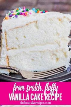 Looking for a vanilla cake recipe? This homemade white cake is kept fluffy by fo… Looking for a vanilla cake recipe? This homemade white cake is kept fluffy by folding in whipped egg whites. It has a velvety texture and is great as a layer cake! Fluffy Vanilla Cake Recipe, Perfect Vanilla Cake Recipe, Vanilla Cake From Scratch, Homemade Vanilla Cake, Moist Vanilla Cake, Vanilla Cake Mixes, Cake Recipes From Scratch, Homemade Recipe, The Best White Cake Recipe Ever