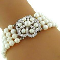 Estate 1950s  2.25ct Round Cut Diamond & 4 Strand 6mm Pearl 14k White Gold Clasp Bracelet