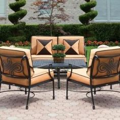 Classic Outdoor Patio Furniture Sets Wrought Iron Chairs With With Orange Cushions And Black Patio Table On Stamped Concrete Floors Backyard Patio Garden Ideas Backyard Garden Landscape, Small Backyard Gardens, Modern Backyard, Backyard Patio, Large Backyard, Patio Table, Garden Landscaping, Dining Table, Small Patio Furniture