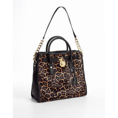 Michael Michael Kors Hamilton Calf Hair Leather Tote Bag ($449) ❤ liked on Polyvore