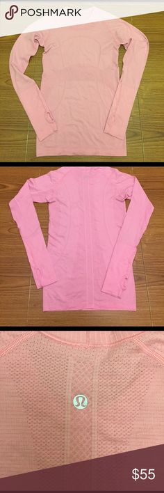 🍋 Lululemon Swiftly Tech Long Sleeve Baby Pink 4 Lululemon Swiftly Tech long sleeve in a pretty baby pink with grey stripes. Size tag has been ripped off, but inside seam says size 4 (see last picture). In awesome condition, except the thumbholes are slightly different sizes (see last picture). Sadly too small for me :( lululemon athletica Tops Tees - Long Sleeve