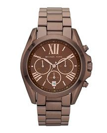Michael Kors Mid-Size Bradshaw Chronograph Watch, Espresso- just got this for my bday.. OBSESSED!!!!