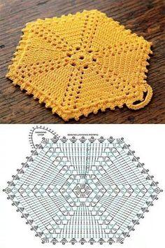 Hexagon groß häkeln - crochet Free Crochet Potholder Patterns These are all links to Free Potholder Patterns. Crochet Potholder Patterns, Crochet Motifs, Crochet Dishcloths, Crochet Blocks, Crochet Diagram, Crochet Chart, Crochet Squares, Crochet Doilies, Free Crochet