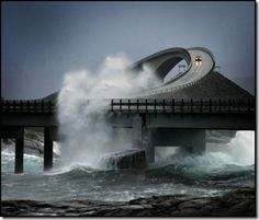 The Atlantic Road in Norway...built high enough for the waves to crash through. Wow.