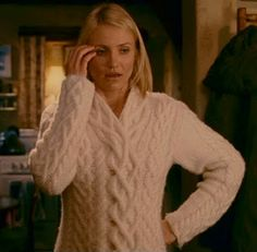 Cameron Diaz in The Holiday - beautiful sweater. Love all her clothes, coats, and shoes in this movie