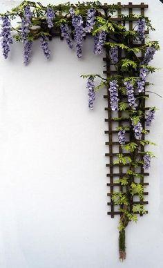 Dollshouse Miniature Wisteria Trellis - Click Image to Close Wisteria Trellis, Diy Trellis, Garden Trellis, Balcony Garden, Trellis Ideas, Wisteria Pergola, Porch Trellis, Wisteria Garden, Shade Garden