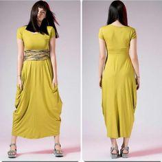 Sukienka maxi,kieszenie,ciekawa żółtozielona, r.S