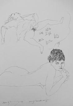 Bernardo CRESPIN : Mujer teniendo conejos ; 2012 ; tinta sobre papel ; 37cm x 26cm ; colección MDAA (adquirido del artista)
