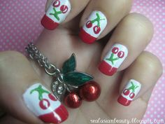 Red tip cherry nails