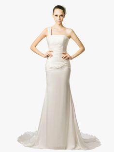 Chiffon One Shoulder Pleats Mermaid Garden Wedding Dress on nextdress.co.uk
