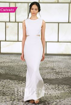 """Brides.com: . Trend: Cutouts. While many designers such as Rivini placed geometric cutouts at the waist this season — with or without the more modest lace inset — there were plenty of other peek-a-boo spots found along silhouette's sides, underneath the neckline, and even on the skirt.  """"Selma"""" sleeveless sheath wedding dress with a high neckline and cutout details at the hips, Rivini"""
